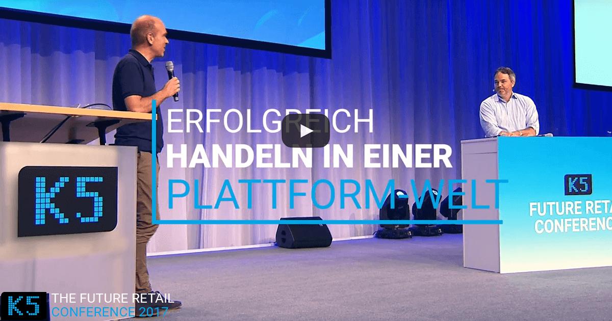 Erfolgreich Handeln in einer Plattform-Welt auf der K5 Konferenz Bühne mit Jochen Krisch und Florian Heinemann