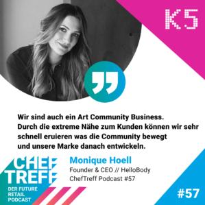 Wir sind auch eine Art Community Business. Durch die extreme Nähe zum Kunden können wir sehr schnell eruieren was die Community bewegt und unsere Marke danach entwickeln. Monique Hoell, Hellobody