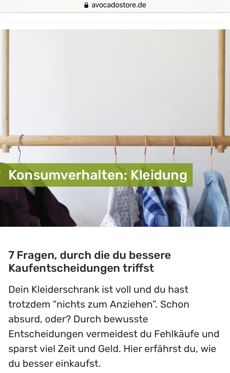 Screenshot von Avocadostore. Zu sehen ist ein Text des Unternehmens, der über Konsumverhaltung bei Kleidung handelt.