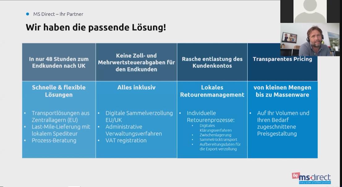 Screenshot von der Präsentation von MS direct über ihre Lösungenfür die Logistik zwischen EU und UK